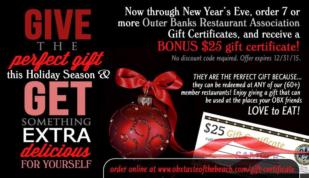 Outer banks restaurant gift certificates holiday bonus offer an outer banks restaurant association gift certificate is a great way to show your appreciation to someone whether it is for a birthday or holiday solutioingenieria Images